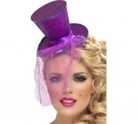 Mini Sombrero de Copa Burlesque Morado con Velo para Mujer