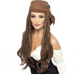 Perruque Châtain avec bandana Femme Pirate