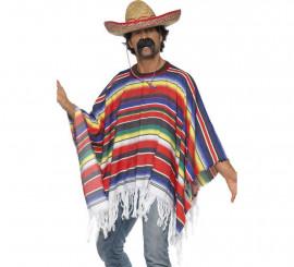 Poncho Mexicano multicolor para adulto