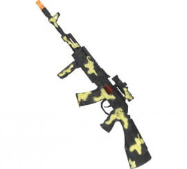Ametralladora Militar Camuflaje con Luz efecto Destello 59cm
