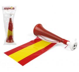 Bocina roja con Bandera España de plástico de 28,5x8 cm