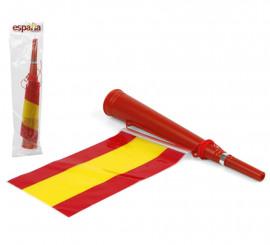 Corneta roja con Bandera España de plástico de 36x5,5 cm