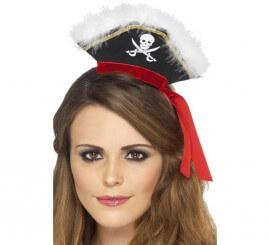 Diadema con Mini Sombrero Marabú con Cinta Roja Mujer Pirata