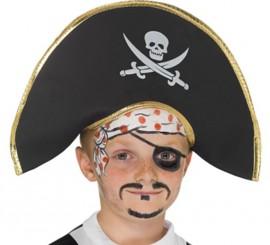 Sombrero Capitán Pirata Infantil con Calavera