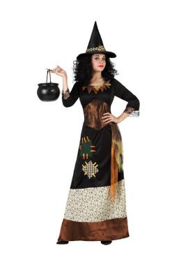 Disfraz de Bruja negra con parches para mujer