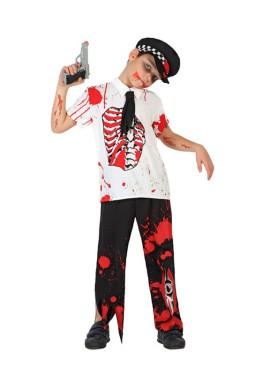 Disfraz de Policía Zombie Sangriento para niño