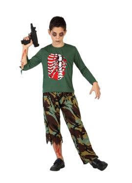 Déguisement Militaire Zombie Halloween pour garçon plusieurs tailles