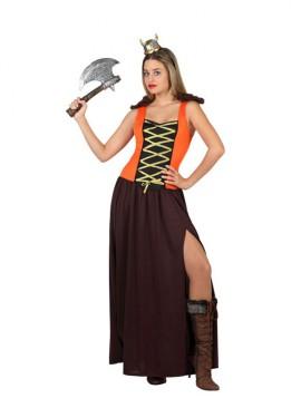 Déguisement Viking Marron et Orange pour Femme plusieurs tailles