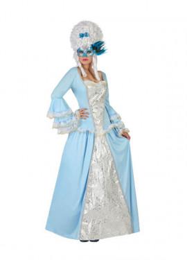 Disfraz de Cortesana de Época azul para mujer