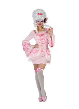 Disfraz de Cortesana de Época rosa sexy de mujer