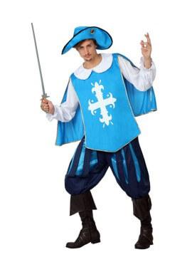 Disfraz de Mosquetero azul claro para hombre