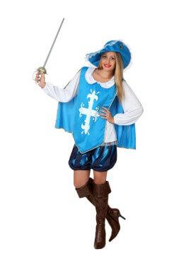 Disfraz de Mosquetera azul claro para mujer