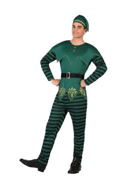 Disfraz de Duende verde de rayas para hombre
