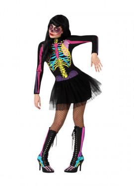 Disfraz de Esqueleto Multicolor con tutú de mujer
