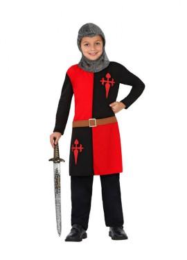 Disfraz Caballero Medieval rojo y negro de niños