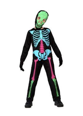 Déguisement Squelette Multicolore pour garçon plusieurs tailles