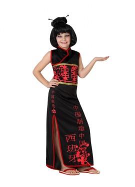 Déguisement de Chinoise noir pour enfants plusieurs tailles