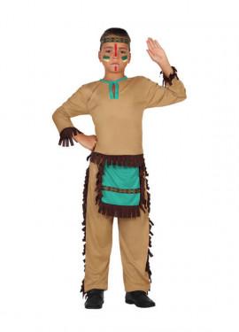 Disfraz para niños de Indio marrón y azul