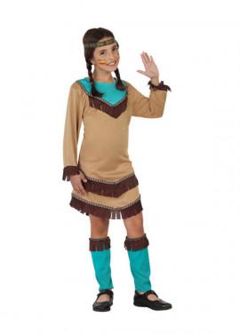 Disfraz para niñas de India marrón y azul