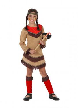 Disfraz para niñas de India marrón y rojo