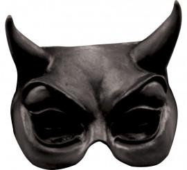 Media Máscara de Diablo en color negro de látex