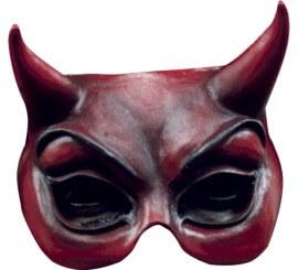 Demi-masque de Diable Rouge en latex pour Halloween