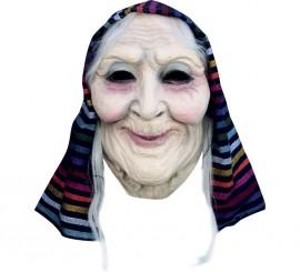 Masque de Vieille Dame avec foulard en Latex Halloween