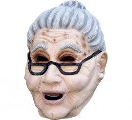 Masque Vieille Dame Lunettes en Latex pour Halloween