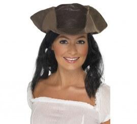 Chapeau Femme Pirate avec Perruque Imitation Cuir Marron