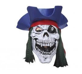 Masque de Tête de Mort avec chapeau Pirate en Latex Halloween