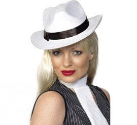 Sombrero Blanco de Gánster con banda Negra