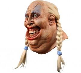 Masque Gros Bonhomme avec couettes Blondes en Latex Halloween