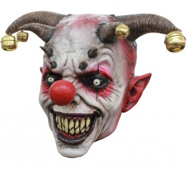 Masque de Clown Demoniaque avec grelots en Latex Halloween