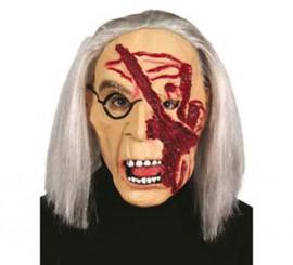 Masque de Vieille Dame avec cicatrice Halloween