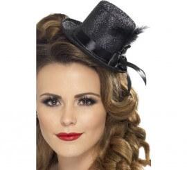 Mini Sombrero Chistera Burlesque Negro con Pluma para Mujer