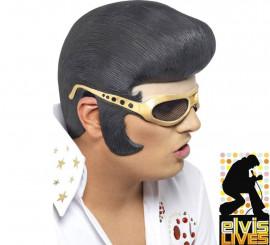 Peluca o Casco de Elvis con Patillas y Gafas