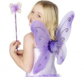 Kit Hada Morada Infantil: Alas de mariposa y Varita Mágica