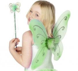 Kit Hada Verde Infantil: Alas de mariposa y Varita Mágica