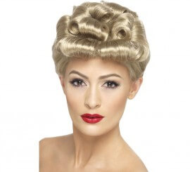 Peluca Rubia Recogida con Bucles Pin Up Vintage