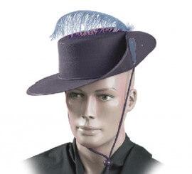 Sombrero Mosquetero NEGRO de fieltro con pluma para adultos