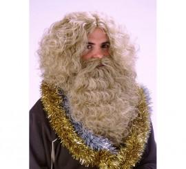 Peluca y Barba de Rey Mago de color castaño