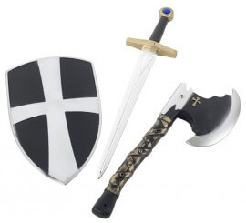 Kit de Caballero Cruzado Infantil: Hacha, Espada y Escudo