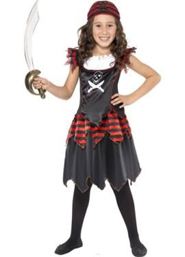 Disfraz de Pirata rojo y negro para Niña