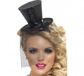 Mini Sombrero de Copa Burlesque Negro con Velo para Mujer