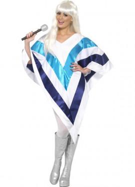 Poncho Disco Super Trouper Blanco y Azul para Mujer