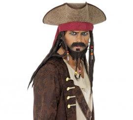 Sombrero Pirata Marrón con Rastas