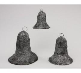 Campana color plata y negro 3 piezas