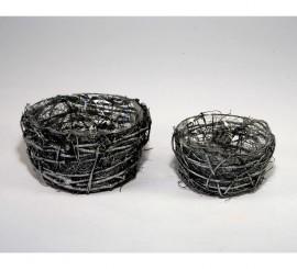 Cesta centro mesa con negro y plata 2 surtídos