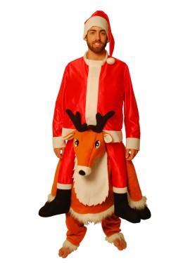 Disfraz de Reno con Papá Noel para adulto