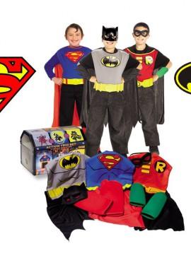Cofre 3 Superhéroes con disfraz y accesorios niños 4-6 años